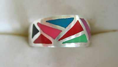 Estate Sterling Silver Inlaid Stones Or Enamel Ring Size 8 Hand Made Artisan