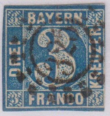 (R9-13) 1849 BAVERIA BAYERN 3K blue imperfed ow3