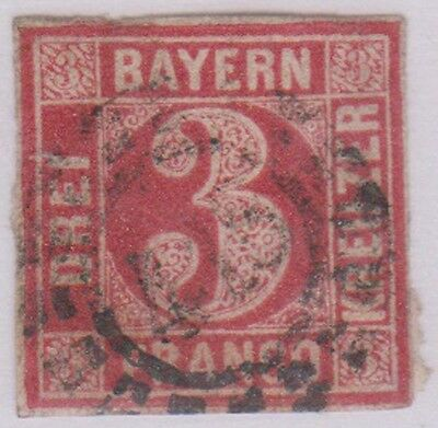 (R9-9)B) 1849 BAVERIA (BAYERN) 3K red Imperfed ow23