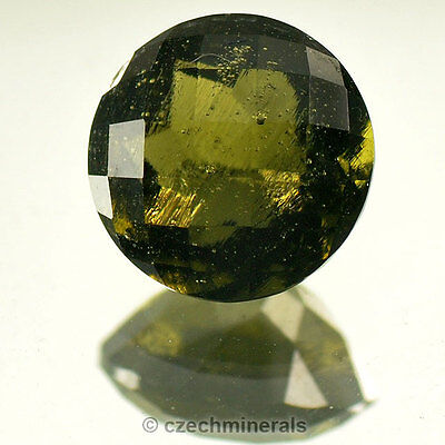2.17cts round 9mm checker top cut moldavite faceted cutted gem BRUS705