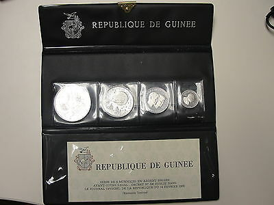 1969 Republic of Guinea 4 Coin Silver Proof Set Very Rare in Packaging with COA
