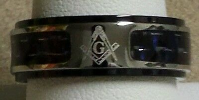 Freemason Ring with Black and Blue Carbon Fiber Inlay (size 11)