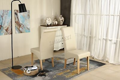 Premium Dining Chair Cream Faux Leather Roll Top Scroll High Back Wood Furniture