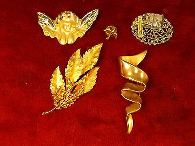 Estate Lot #10 - 5 Older Vtg Pins/brooches, Incl Dove, Angel, Bsk, M.j.ent!!!