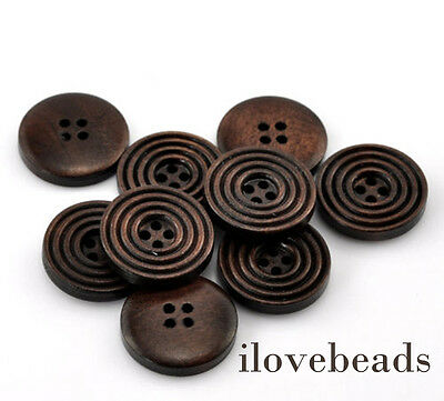 """50PCs Dark Coffee 4 Holes Round Wood Sewing Buttons 20mm(6/8"""") Dia. Hot"""