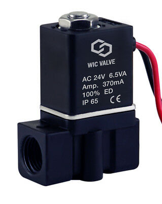 "1/4"" Inch Plastic Electric Air Gas Water Solenoid Valve Normally Closed 24V AC"