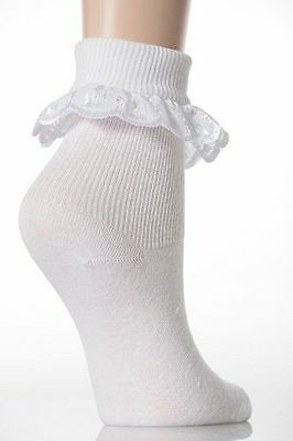 Girls white frilly lace ankle socks,embroidered,Jolie Fille.6-8,9-12,12-3,4-5