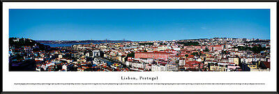 Lisbon, Portugal City Skyline Framed Panorama Poster Picture