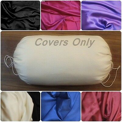 Round Bolster cover SATIN yoga massage neck pillow removable many size color