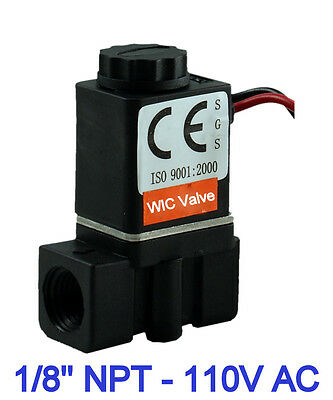 "1/8"" Inch Plastic Electric Air Gas Water Solenoid Valve Normally Closed 110V AC"