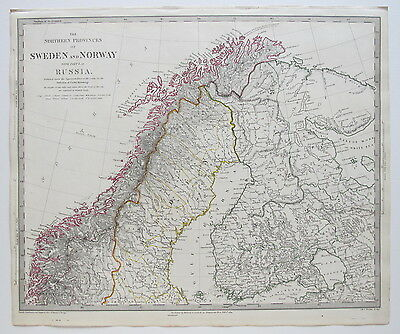 Sduk Map 1834 Sweden Norway Russia Pub. 1844
