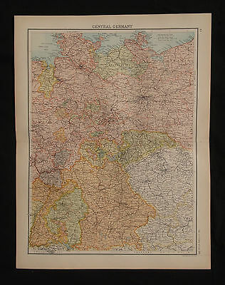 1898 LARGE VICTORIAN MAP ~ Central Germany ~ ORIGINAL ANTIQUE 450