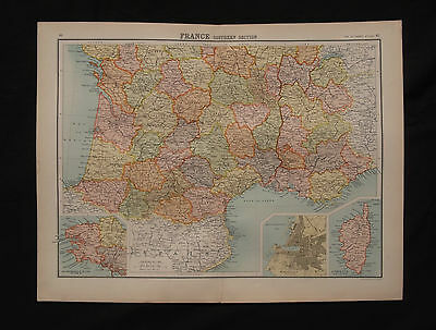 1898 LARGE VICTORIAN MAP ~ SOUTHERN FRANCE ~ ORIGINAL ANTIQUE 454