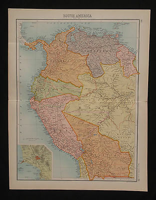 1898 LARGE VICTORIAN MAP ~ NORTH WEST SOUTH AMERICA ~ ORIGINAL ANTIQUE 477
