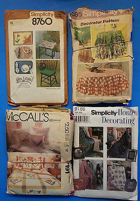 Home Decor Pattern Lot x 4 Quilt & Pillow Covers, Table & Chair Covers, etc.