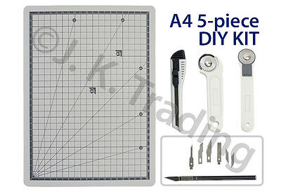 Scrapbooking 5pc Kit A4 Cutting Mat,Art Knife,Cutter,Rotary Cutter Straight Wave