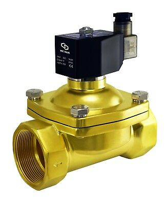 """2"""" Inch Brass Electric Zero Differential Air Water Gas Solenoid Valve 24V DC"""