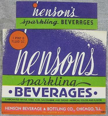 1930's~Soda Label~Henson's Beverages~Henson Beverage Chicago, IL