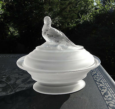 Vintage Imperial Glass Frosted / Satin Pheasant Covered Oval Dish