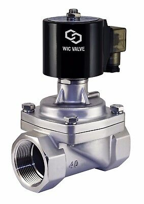 """1-1/2"""" Inch Stainless Zero Differential Steam Electric Solenoid Valve NC 12V DC"""