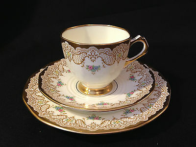 Vintage 1920-30's TUSCAN Heavily Gilded Cup, Saucer and Tea Plate
