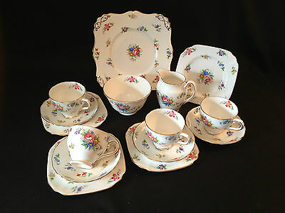 Vintage TUSCAN 'Bouquet' 15 piece, purest white, gilded Tea Set 1940's-50's
