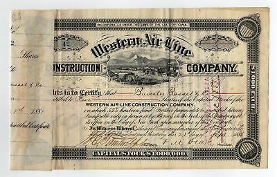 Western Air Line Construction Co Stock - Signature by F.M. Drake