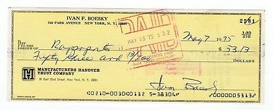 Ivan Boesky Signed Bank Check