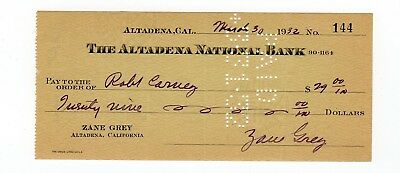 Zane Grey signed Bank Check