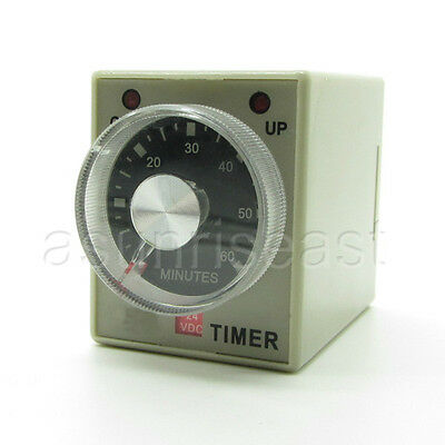 DC24V 60 Minutes 0-60M Power On Delay Timer Time Relay AH3-3 + Socket Base 8-PIN