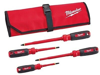 Milwaukee 48-22-2204 4 PC 1000V Insulated Screwdriver Set w/Roll Pouch