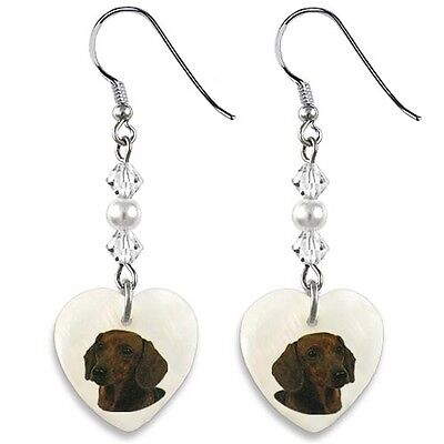Saint Bernard Dog 925 Sterling Silver Heart Mother Of Pearl Hooks Earrings EP261