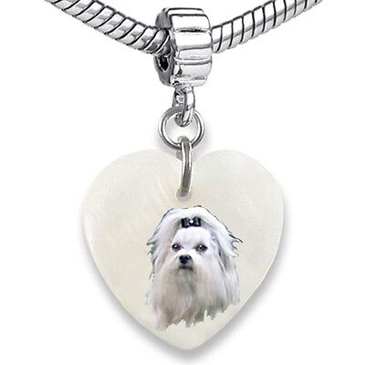 Shih Tzu Dog Heart Dangle Mother Of Pearl European Bracelet Charm Bead EBS306