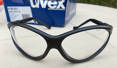 "Uvex ""cybric"" Safety Glasses Clear Hard Coat Lens, Black Frame"