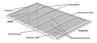 Lean To Conservatory Roof Kit DIY - 3m Projection, 10/16/25mm Polycarbonate