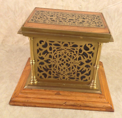 Antique Oak and Brass Table Top Safe Bank  with Decorative Detailing Glass or ?