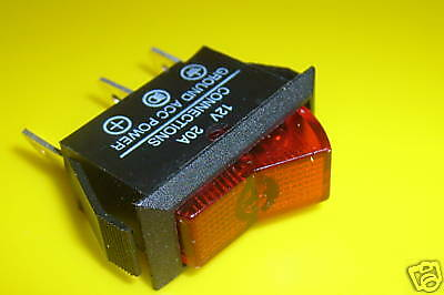 On /Off  Illuminated  Rocker  Switch - RED   20A @12V Car Dash  Light