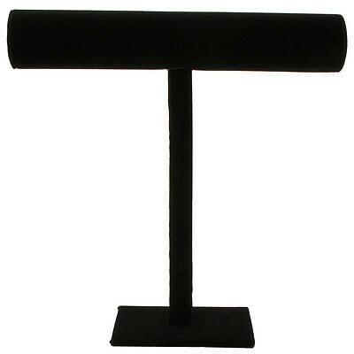"""New Stylish Unique Black Velvet Necklace T-Bar Jewelry Display Stand 12"""" H"""