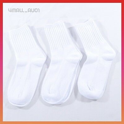 3 Pairs White Cotton Unisex Boys Girls Kids School Uniform Sport Socks Sox Sz
