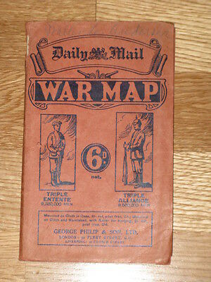 Daily Mail Map of Europe at the onset of World War I - Rare!!!
