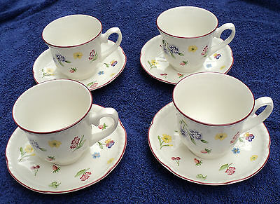 4 Johnson Bros. Fleurette Cups & Saucers England 1992 -1995 Scalloped Floral