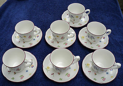 7 Johnson Bros. Fleurette Cups & Saucers England 1992 -1995 Scalloped Floral