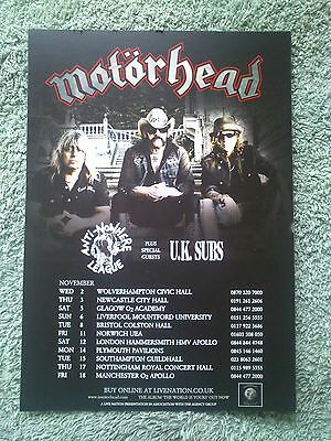 MOTORHEAD THE WÖRLD IS YOURS UK 2011 Tour/Concert Flyer UK SUBS Anti Nowhere Lge