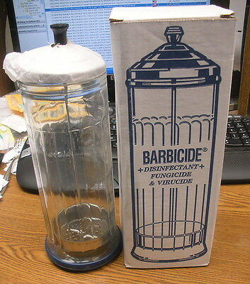 Barbicide Disinfecting Large Glass Jar King Research New In Box Unused