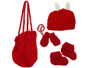 Hand Knit Bag With Beanie, Mittens, And Booties