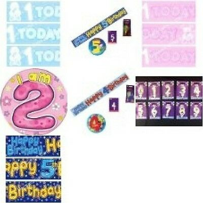 Birthday Party Supplies Ages 1 to 5 Banner Balloons Badge Candle