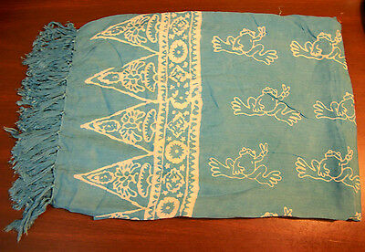 "Peace Frogs Turquoise Batik Sarong Approx. 54""x 44"""
