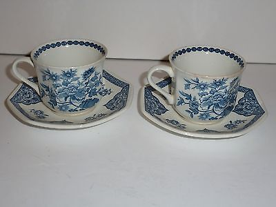 Vintage J&G Meakin England Old Pekin Pair Cups/Saucers, Blue and White