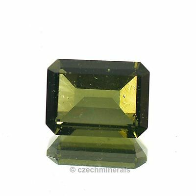 4.95cts rectangle cut 10x13mm moldavite faceted cutted gem BRUS816