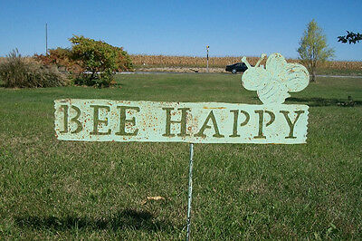 Wrought Iron Bee Happy Garden Stake Home Decor Metal Yard Ornament Rustic Art